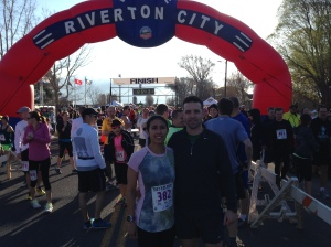 My husband and me at the starting line prior to the race.