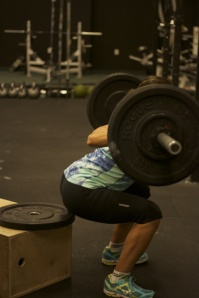 Box squat on Wednesday session. (Photo courtesy of Quincy Warner)