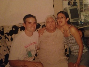 A picture of my late grandma and the first time she met my husband -2002.