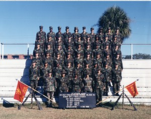 The platoon I graduated with at MCRD Parris Island. Platoon 4040, Oscar Company, 4th Battalion. Can you spot me? I am third form the top, dead center.