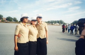 The Marine on the far right was my top rack bunkie, and she was from California. The Marine in the middle was from New Jersey, and she slept on the lower bunk next to me. Every night, when the training day was over, we would laugh about our crazy day.
