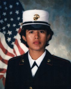 Here is my notorious USMC picture. I have a sandflea bite on my chin that I scratched until I bled, a scar on the bridge of my nose from the BC glasses, wild unmanageable hair, and dirty pores from sweat and dirt of three months of training.